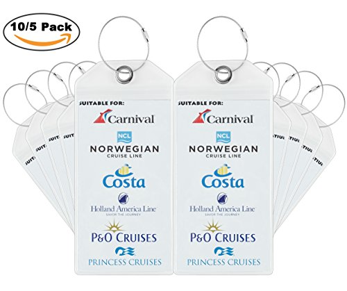 Travelambo Cruise Tags Luggage Etag Holders Zip Seal & Steel Loops Thick...