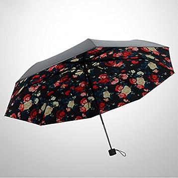 Nuevo de flores mujer plegable sombrilla para resistente al viento anti UV Sol Paraguas Lluvia,