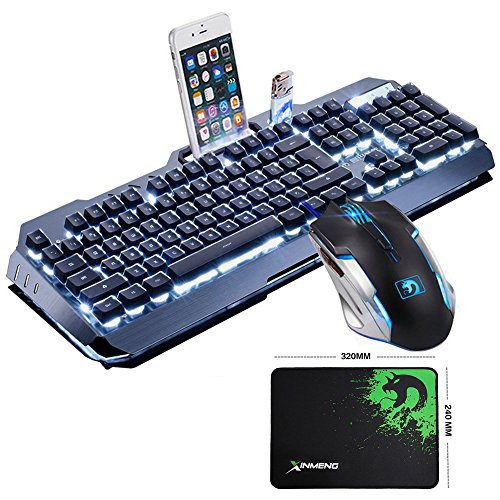LexonElec@ Technology Keyboard Mouse Combo Gamer Wired White LED Backlit Metal Pro Gaming Keyboard + 2400DPI 6 Buttons Mouse + Mouse Pad for Laptop PC (Black & White Backlit)