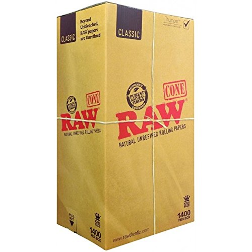2800 RAW Pre-Rolled Cone 2 X 1400 Pack (King Size) with TSC STICKER by Raw Threads