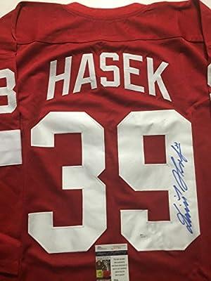 Autographed/Signed Dominik Hasek Detroit Red Wings Red Hockey Jersey JSA COA