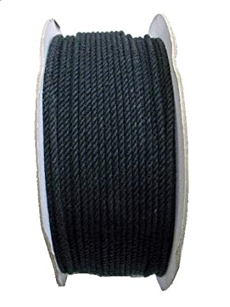 200M 綿ロープ (黒) ドラム巻 6ミリ