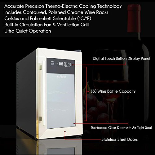 NutriChef 8 Bottle Thermoelectric Wine Cooler / Chiller | Counter Top Red And White Wine Cellar | FreeStanding Refrigerator, Quiet Operation Fridge | Stainless Steel by NutriChef (Image #2)