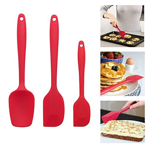 MZCH Premium Silicone Nonstick Silicone Spatula Hygienic Solid Coating Wide Handle, Heat-Resistant Cooking 500℉, Set of 3 pieces (Cherry Red)
