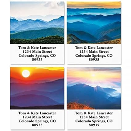 amazon com above the mountains square return address labels 4