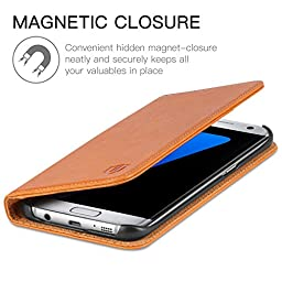 Galaxy S7 Edge Case, SHIELDON Genuine Leather Case Wallet, Premium All-purpose Flip Book Case w/ Stand Feature & ID Card Slots for Samsung Galaxy S7 Edge, Magnetic Closure (Color Brown)