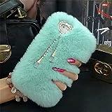 ipod 5 case light blue - Case for ipod Touch 6,Super Deluxe Luxury Faux Rabbit Fur Fuzzy Plush Beaver Rex Rabbit Hair Fur Case for Apple iPod touch 5 6th Generation (Pendant Light Blue)