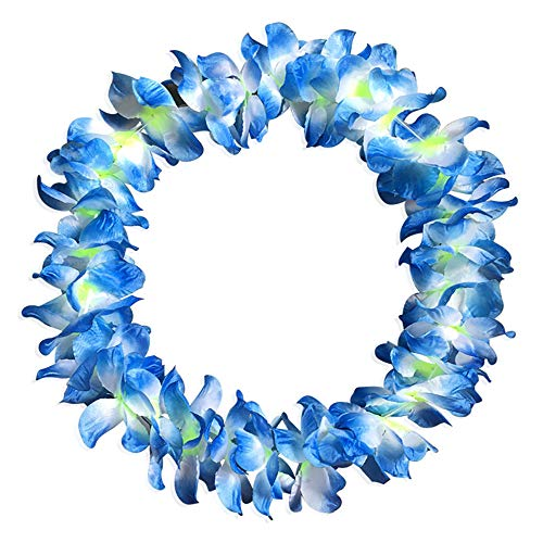 Hot Sale!DEESEE(TM)1pcs Counts Tropical Hawaiian Luau Flower Lei Party Favors (Blue)