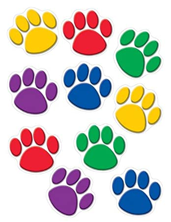 Amazon.com : Teacher Created Resources Paw Print Accents, Colorful (4114)    30 Count : Themed Classroom Displays And Decoration : Office Products