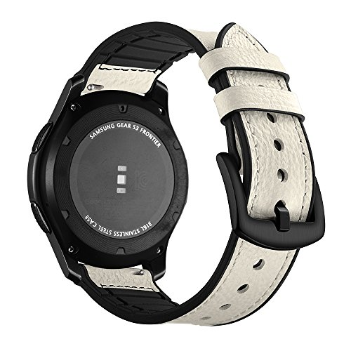 Gear S3 Frontier Bands, Aottom [22MM] Samsung Gear S3 Classic Leather Silicone Band Replacement Band Wrist Band Stainless Steel Buckle Bracelet Wristband for Samsung Gear S3/Moto 360 2nd Gen 46mm