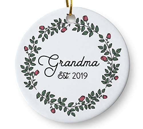 Grandma Est. 2019 Christmas Tree Ornament, New Grandmother, Baby Reveal Pregnancy Announcement Keepsake, Gift for Mom Mother Grandma To Be, 3 Inch Flat Ceramic Ornament with Gift Box -