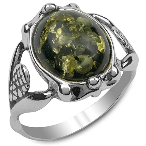 Green Amber Sterling Silver Classic Round Ring