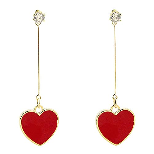 Dana Carrie S925 silver aguja roja en forma de corazón el amor del corazón de melocotón