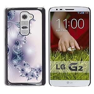 QCASE / LG G2 D800 D802 D802TA D803 VS980 LS980 / Modelo del papel pintado del arte luz púrpura blanco / Delgado Negro Plástico caso cubierta Shell Armor Funda Case Cover