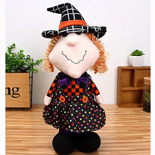 Livoty Halloween Plush Girl Dolls Children Toy Halloween Birthday Gift Home Decor (C)
