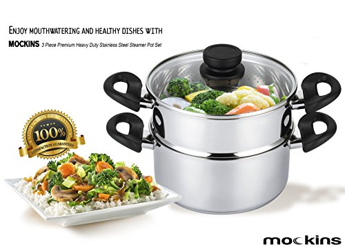 mockins 3 Piece Premium Heavy Duty Stainless Steel Steamer Pot Set Includes 3 Quart Cooking Pot, 2 Quart Steamer Insert and Vented Glass Lid | Stack and Steam Pot Set for All Cooking Surfaces (Stainless Steamer)