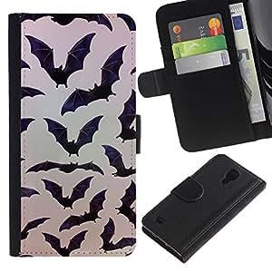 Paccase / Billetera de Cuero Caso del tirón Titular de la tarjeta Carcasa Funda para - Halloween Black Pattern Nature - Samsung Galaxy S4 IV I9500
