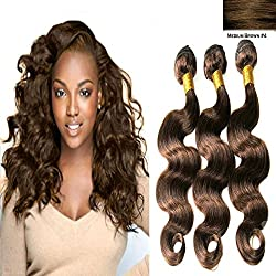 """BODY WAVE Brazilian 3 Bundle Pack GREAT DEAL Wavy Hair Weave Extensions 100% Processed Human Hair GUARANTEED or Medium Brown #4 Color -14""""14""""16"""""""