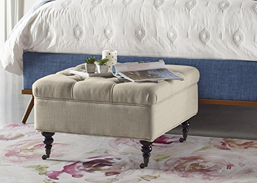 Serta Abbot Square Tufted Ottoman with Storage and Casters, Ivory For Sale