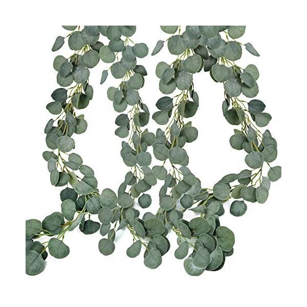 2 Pcs Artificial Greenery Garland Total 12Ft Willow Leaf Garland Faux Silk Jungl