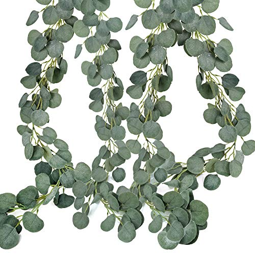 SUPLA 2 Pcs Total 13.2' Long Artificial Eucalyptus Leave Greenery Garland Silver Dollar Eucalyptus Plant Garland Hanging Fake Eucalyptus Twig Vine Garland for Wedding Baby Shower Holiday Jungle Decor]()