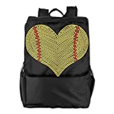 GTSOXI Outdoor Travel Backpack Bags - I LOVE SOFTBALL HEART Backpack Daypack Bookbags Sports Bag For Girl Boy Man Woman