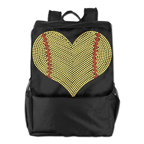 GTSOXI Outdoor Travel Backpack Bags - I LOVE SOFTBALL HEART Backpack Daypack Bookbags Sports Bag For Girl Boy Man Woman by GTSOXI