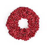 FAVOWREATH Love Series FAVO-W36 Handmade 13.5 inch Red Hydrangea Dry Branch Wreath For Marry Memorial Day Festival Celebration Front Door/Wall/Fireplace Floral Hanger Home Decor