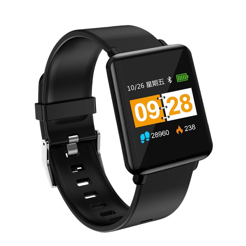 Smart Watch, Heart Rate Activity Step Music Control Smart Watch for Kids Women Men (Black) by LAIHUI