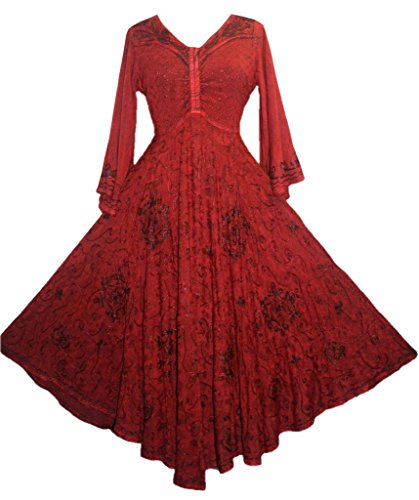 Agan Traders 206 DR Medieval Bell Sleeve Dress [Burgundy; Small] -