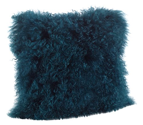 SARO LIFESTYLE 100% Wool Mongolian Lamb Fur Throw Pillow with Poly Filling 16