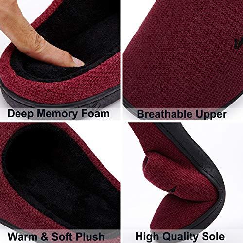 Skid Shoes Anti House Red Lining Plush VIFUUR Memory Cozy Foam Indoor Women's Slippers Black nwzq8Ugv