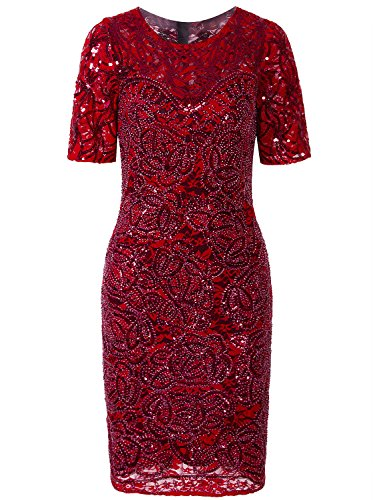 - Vijiv Women Vintage Style Lace Beaded Cocktail Dress Sequin Great Gatsby Flapper Dress For Wedding Party With Sleeves,Red,Medium