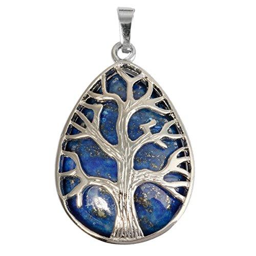 SUNYIK Teardrop Tree of Life Amulet Pendant Necklaces for Women, Lapis ()