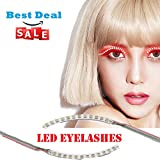 Image of Waterproof LED Eyelashes with 7 Flashes Models Unisex Flashes Interactive Changing F. Lashes Luminous Shining Charming Eyelid Tape for Party Bar NightClub Concerts Birthday Gift Halloween - Red