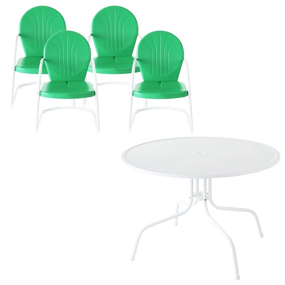 Amazon com crosley furniture griffith 5 piece metal outdoor dining set with table and chairs grasshopper green outdoor and patio furniture sets