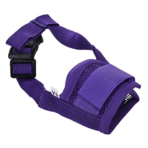 Team-Management Purple S Pet Dog Adjustable Mask Bark Bite Mesh Mouth Muzzle Grooming Anti Stop Chewing