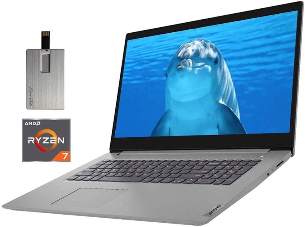 "2020 Lenovo IdeaPad 3 17.3"" HD+ Laptop Computer, AMD Ryzen 7-3700U Processor, 20GB RAM, 1TB HDD+512GB SSD, AMD Radeon Vega 10 Graphics, Dolby Audio, HD Webcam, Windows 10, Grey, 32GB SnowBell USB Card"