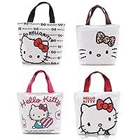 Finex - Juego de 2 - Bolso de mano Hello Kitty con cierre de cremallera y asas superiores - Bolsa de lonchera Gym Tote (color aleatorio)