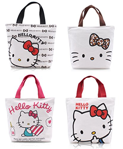 (Finex - Set of 2 - Hello Kitty Canvas Zippered Tote with Top Carry Handles - Lunch Box Bag Gym Tote (Random)
