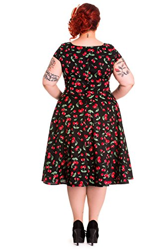 fed52f03d47 Hell Bunny Plus Sweet Cherry Pop Cherry Love 50 s Pinup V-neck Flare Party  Dress (XXL)