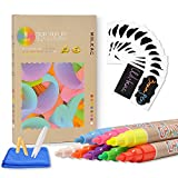 Liquid Chalk Markers Fine Tip, (8 Pack 3mm) Neon Chalk Pens for Bistro Boards and Windows Paint, Chalkboard Markers Erasable with 24 Labels, Cleaning Cloth, 2 Reversible Bullets and Chisel Tip