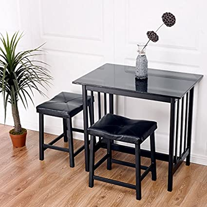 Amazon Com 3 Pcs Modern Counter Height Dining Set Table And 2