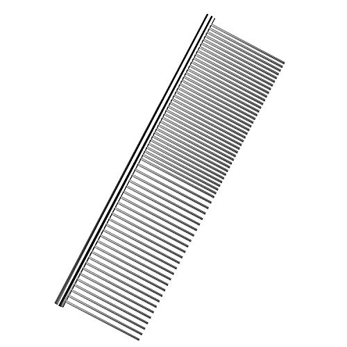 (PAWABOO Pet Grooming Comb, Stainless Steel Pet Grooming Massaging Kit Dog Comb Steel Comb Pin Comb Dog Shedding Combs with Different Spaced Teeth, Large Size, Silver)