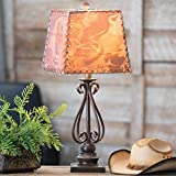 Black Forest Decor Scroll Metal Table Lamp w/Western Shade