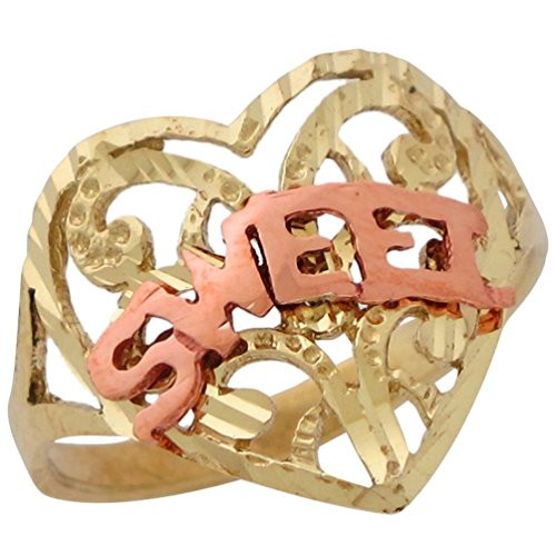 (14k Two-Tone Wide Top Diamond Cut Filigree Heart Ring with Word Sweet)