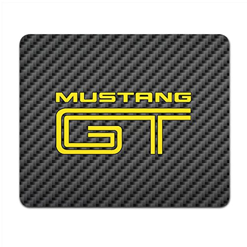 Price comparison product image Ford Mustang GT in Yellow Black Carbon Fiber Texture Graphic PC Mouse Pad , Made in USA
