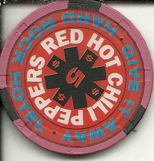 $5 hard rock red hot chili peppers las vegas casino chip