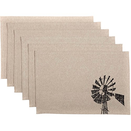 VHC Brands Farmhouse Tabletop Kitchen Miller Farm Charcoal Windmill Cotton Stenciled Chambray Graphic/Print Rectangle Placemat Set of 6 One Size Khaki Tan ()