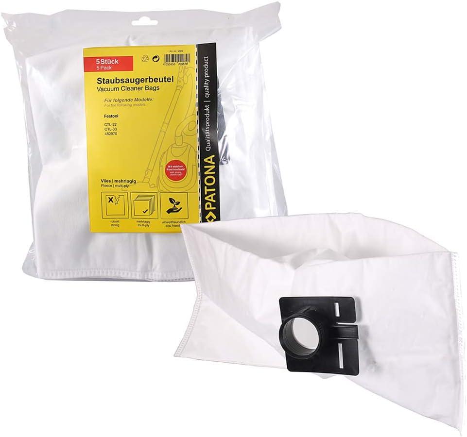 PATONA 5 Bolsas de aspiradora 452970 compatible con Festool ...
